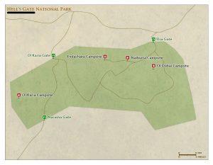 Hell`s Gate National Park Kenya map