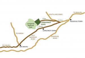 Mount Longonot National Park In Kenya map