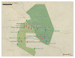 Tsavo East National Park Kenya map